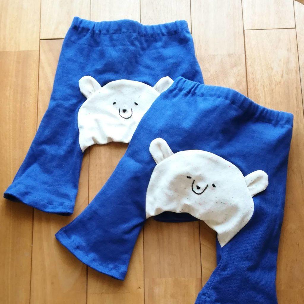 くま刺繍パンツ
